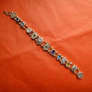 14K Gold & Gem Vintage Victorian Slide Bracelet